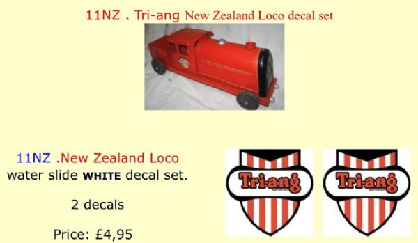 11NZ . Tri-ang New Zealand Loco decal set